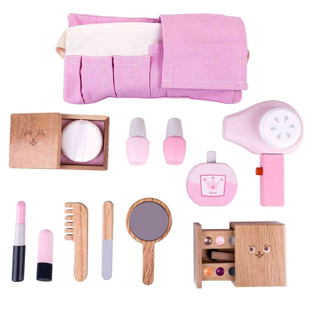 12pcs Of Wooden Makeup Pretend Play Set-simulation For