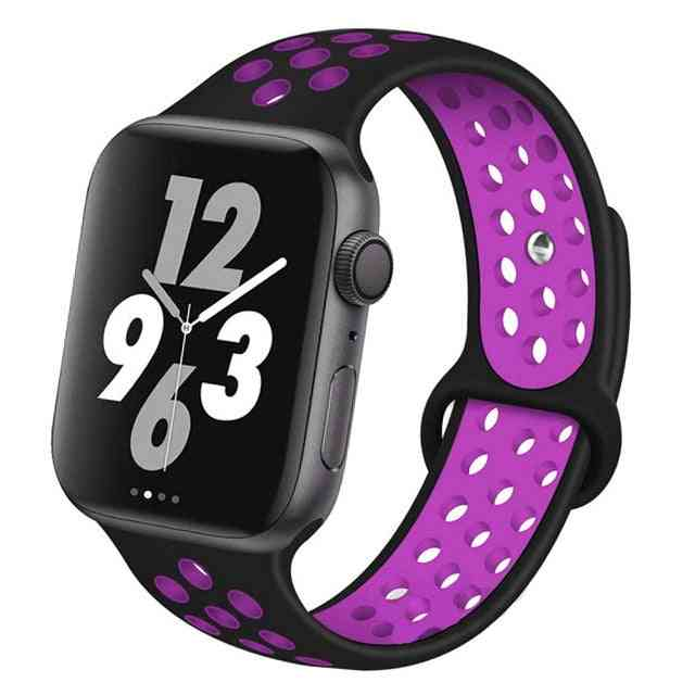 Silicone Wristband Suitable For Apple Watch-breathable Bracelet (set-1)