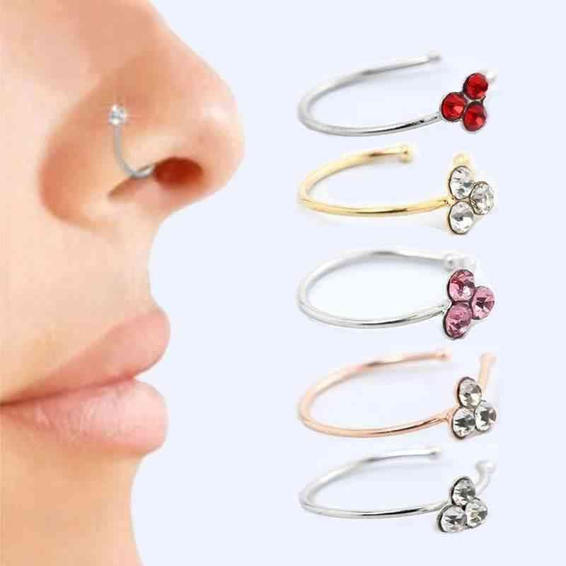 Three Stone Studded Nose Ring-pretend Play