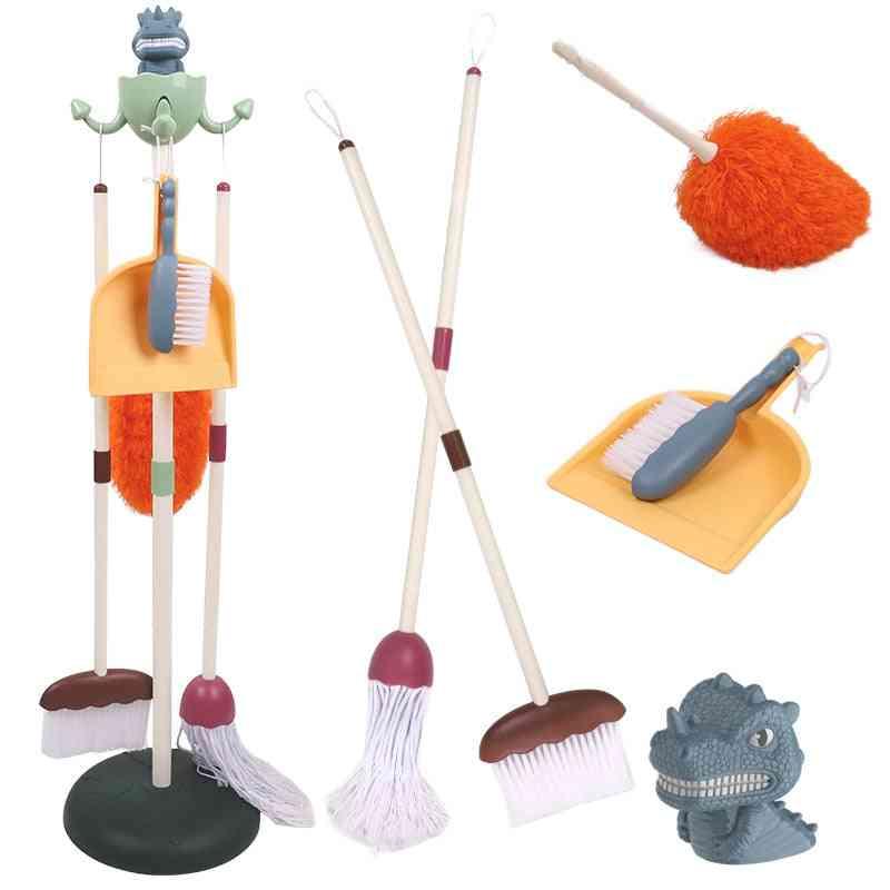Splicable Dinosaur Housekeeping Set, Broom Mop Brush Tools