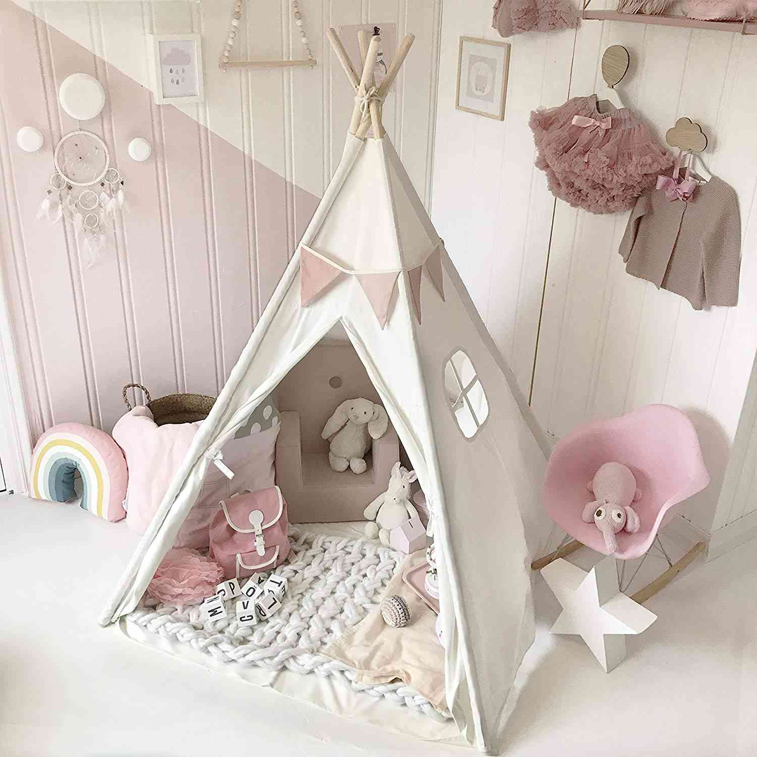 Triangle Shaped, Durable Cotton Fabric Play Tent House  For