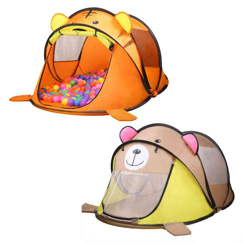 Portable Cartoon Animal Design, Large Pop-up Toy Tent, Balls And Flags For Kids