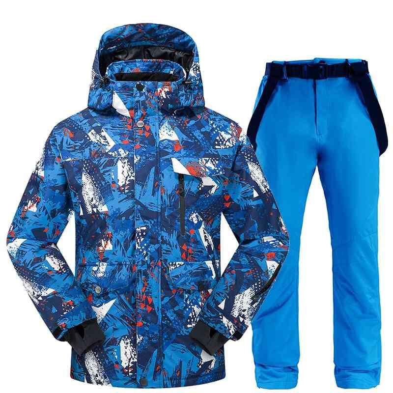 Men Winter Thermal Waterproof Windproof, Snow Pants Ski Jacket Suit