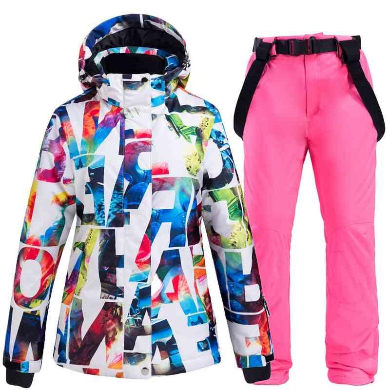 Warm Women's Snow Suit Sets- Waterproof Windproof Winter Ski Jackets & Strap Pants