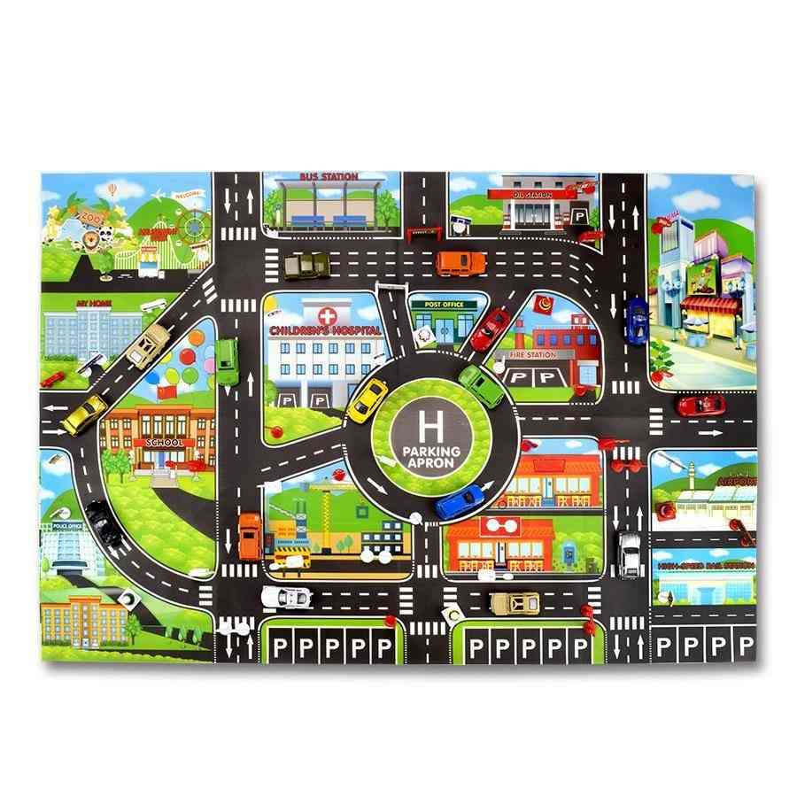 City Parking Lot, Roadmap, Traffic Road Signs And Climbing Mats For