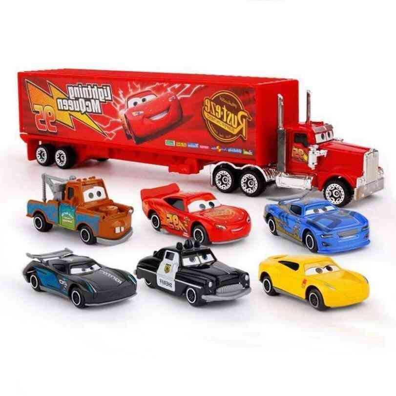 3 Lightning Mcqueen Jackson Storm Material Mack Uncle Truck 1:55 Die Casting Metal Car Model