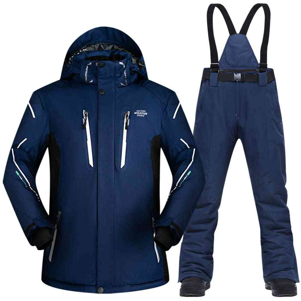 Men, Winter Waterproof, Windproof Thicken Warm Snow Clothes, Ski Sets- Jacket And Pants