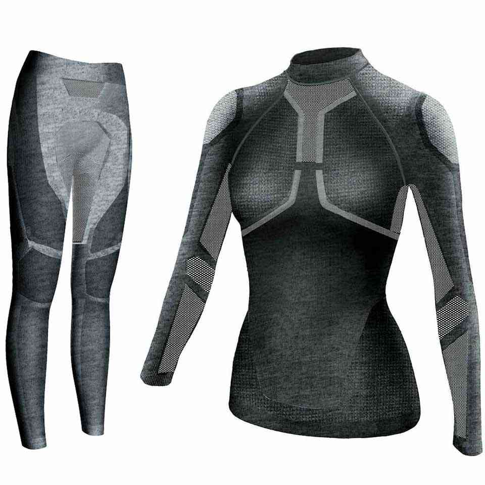 Women Thermal Underwear Set- Quick Dry Function Compression Fitness Tight Shirts, Tight Suits