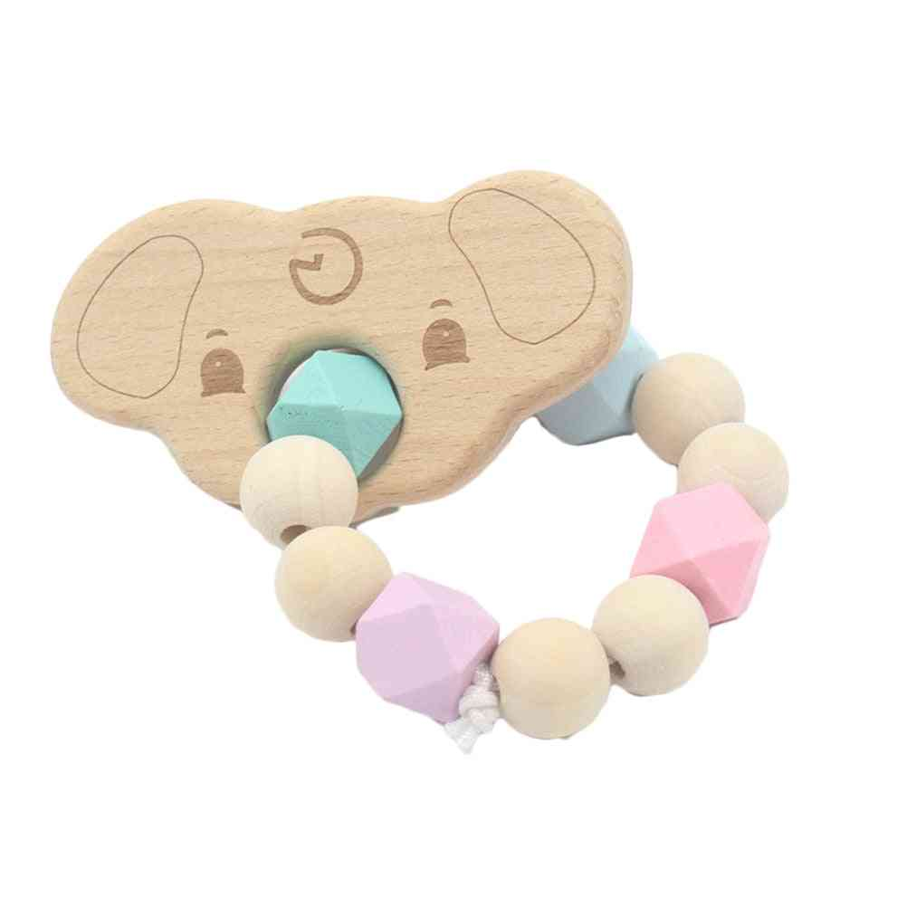 Wood Teething Bracelet Toy, Small Animal Shaped Jewelry Teether
