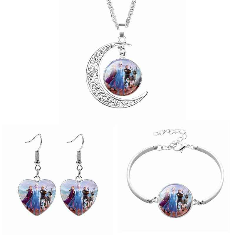 Three-piece Cute Anna Elsa Princess Doll - Necklace Earring Bracelet,