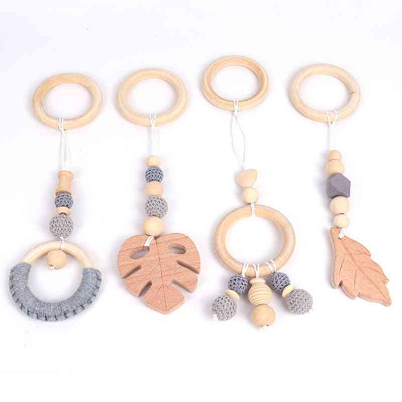 Baby Wooden Rattle Teether Toy, Beech Leaf Pendant Play