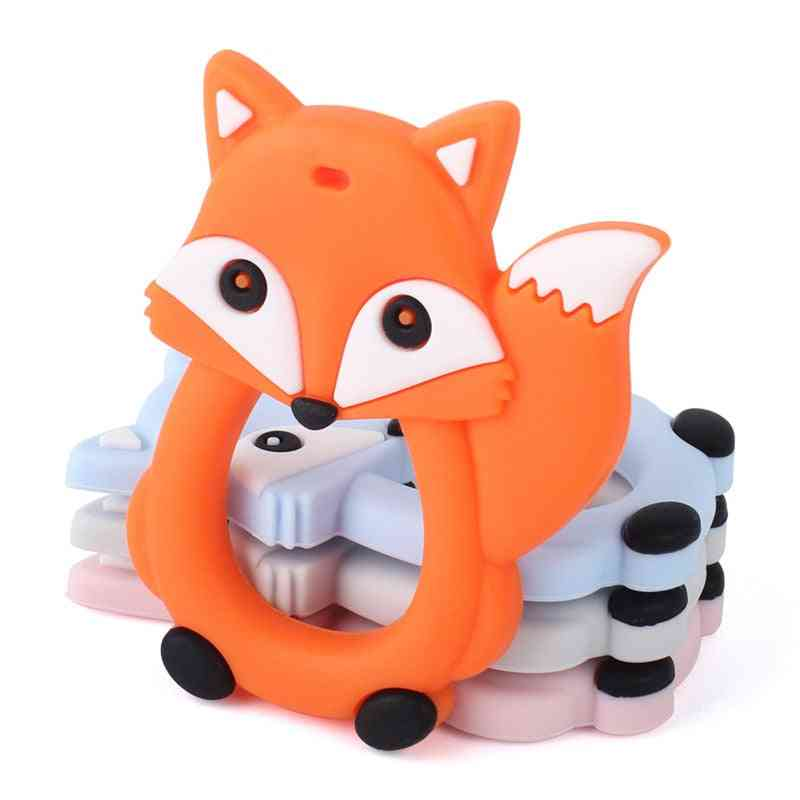 Cartoon Fox Baby Teether, Silicone Rodent Ring, Hanging Teething