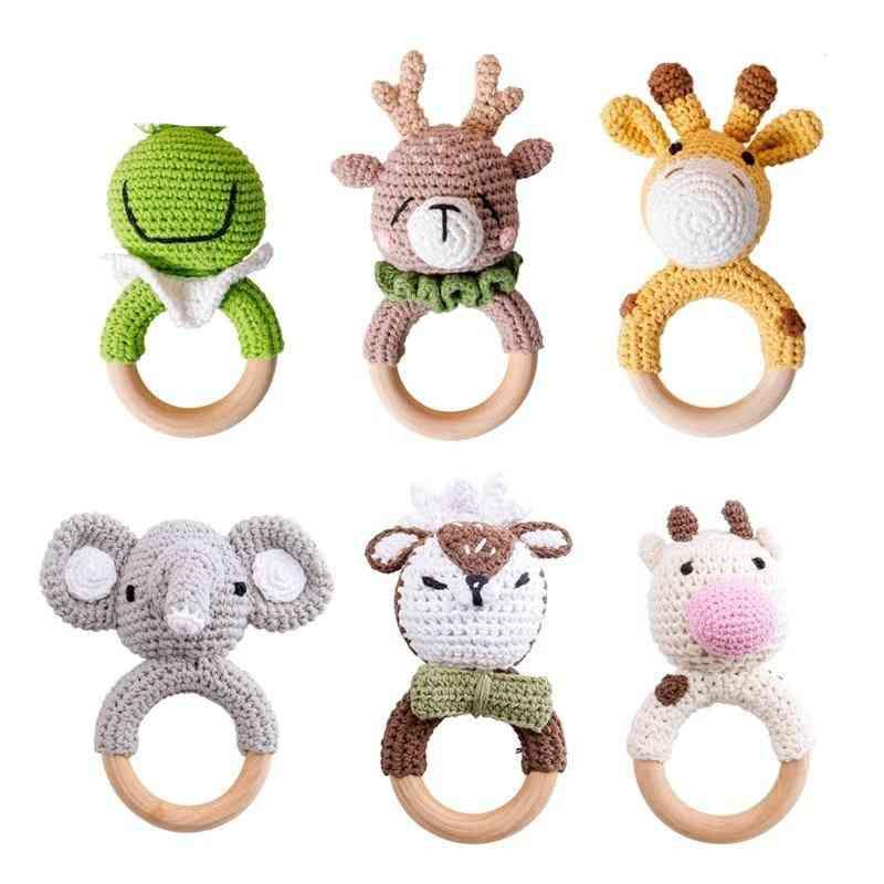 Baby Teether Safe Wooden, Mobile Pram Crib Ring Diy Crochet Rattle Soother Bracelet