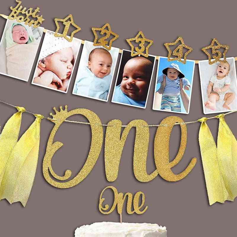 Baby Photo Banner With Clip For 1st Birthday Party Decorations