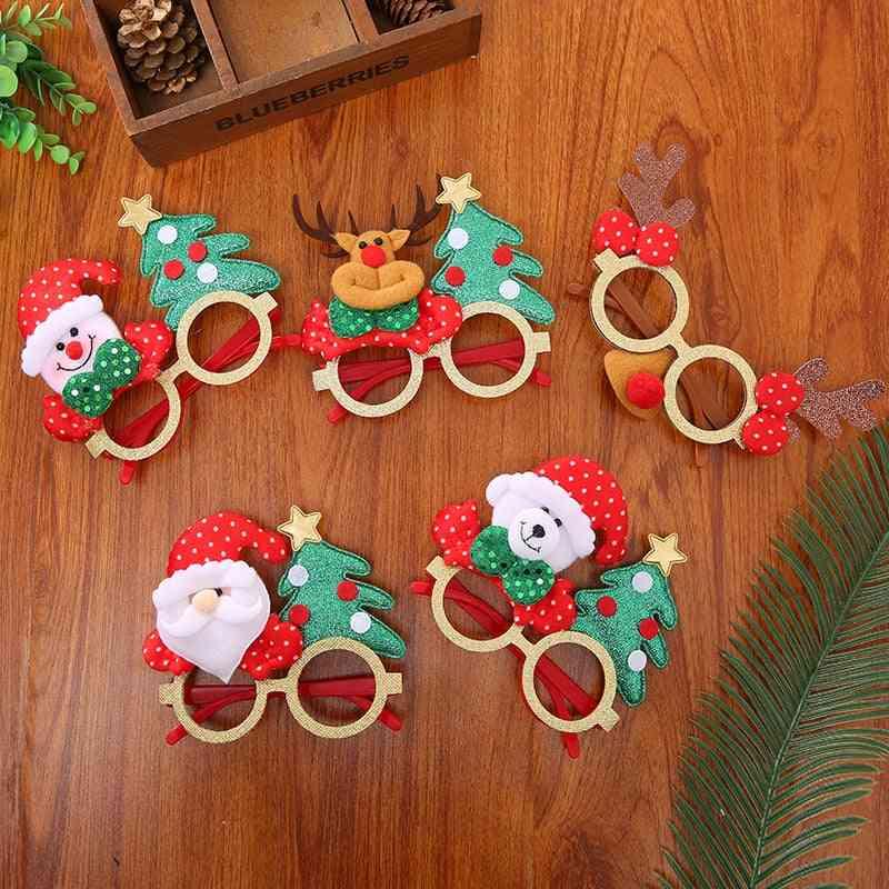 Cute Santa Claus, Snowman, Elk, Bear, Antler Shape Cartoon Glasses For Kid's Party