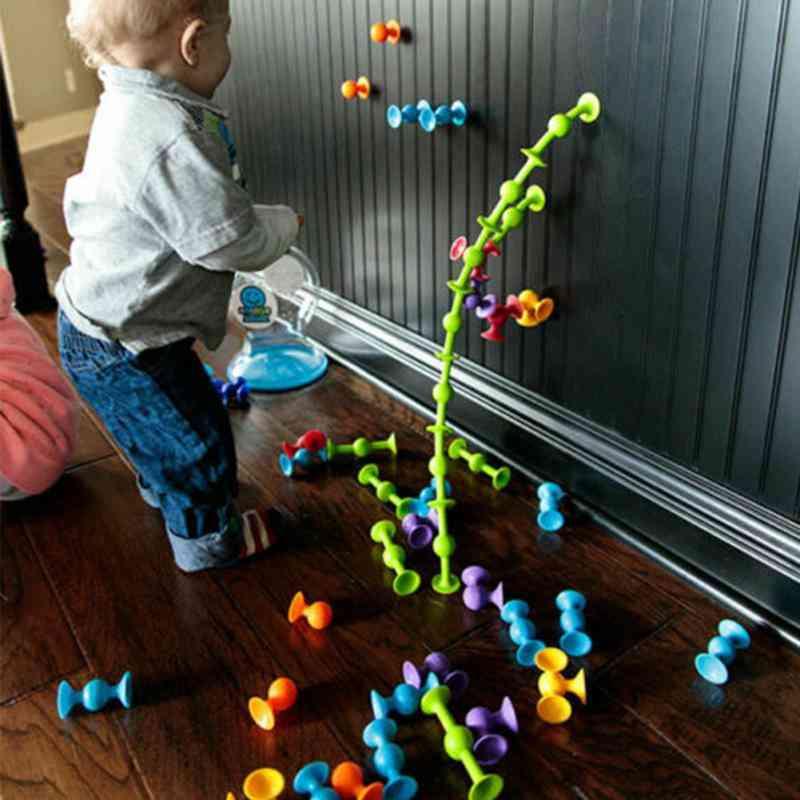 Boy & Girl Soft Silicone Construction Toy- Educational Sucker Building Block