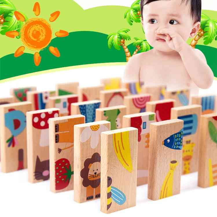 Baby Domino Beech Wood Carton Animal Solitaire Toy