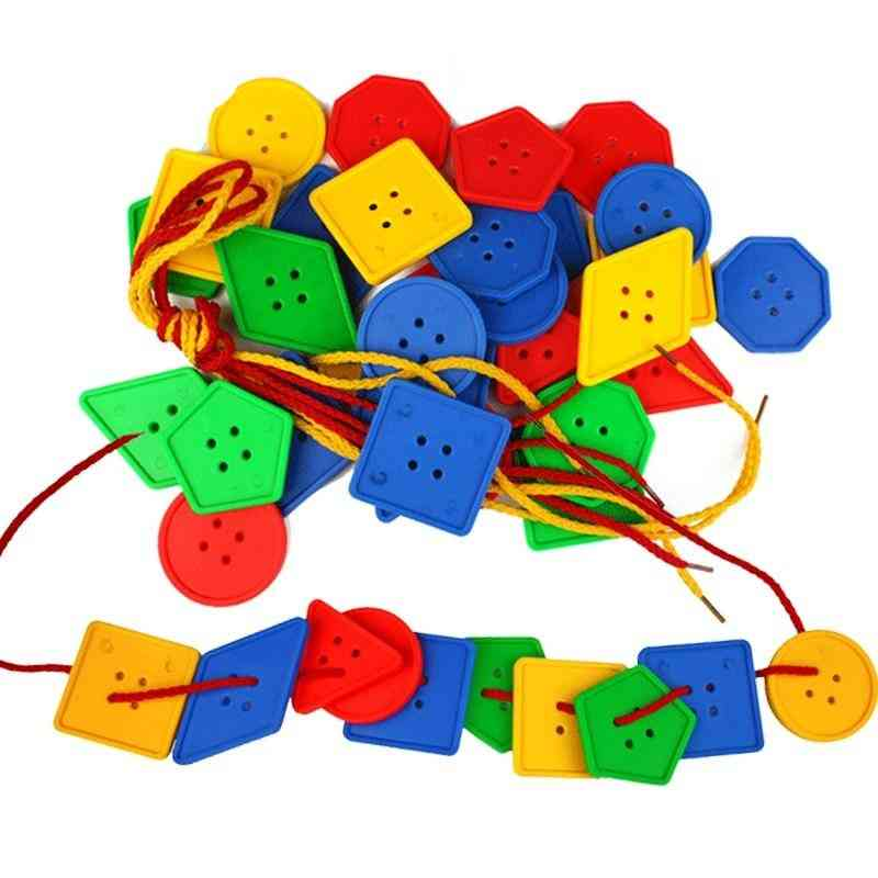 Geometric Buttons Blocks And Rope -montessori Educational For