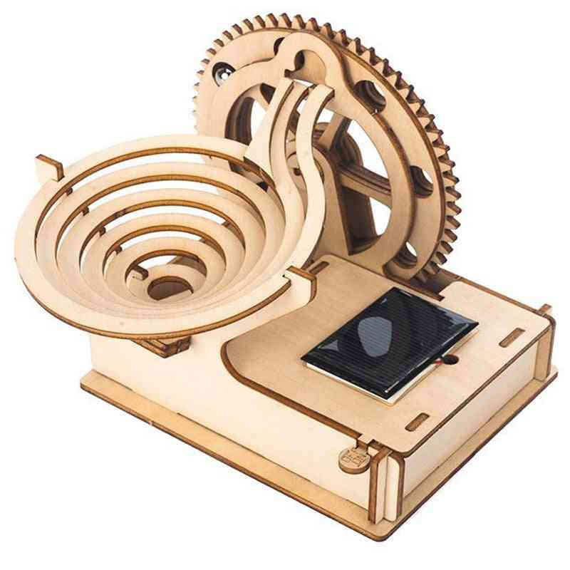Diy Kids Wooden Puzzle Kit- Solar Track Rolling Ball, Mechanical Gear Assembly