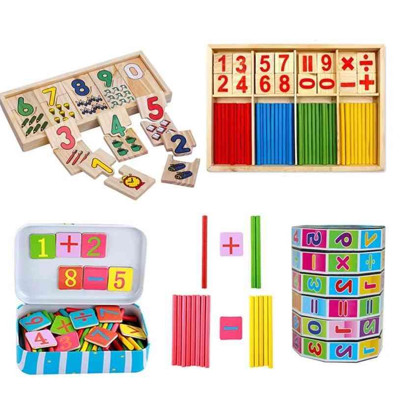 Education Montessori Box ,digital Clock Math Number Counting Baby Kids