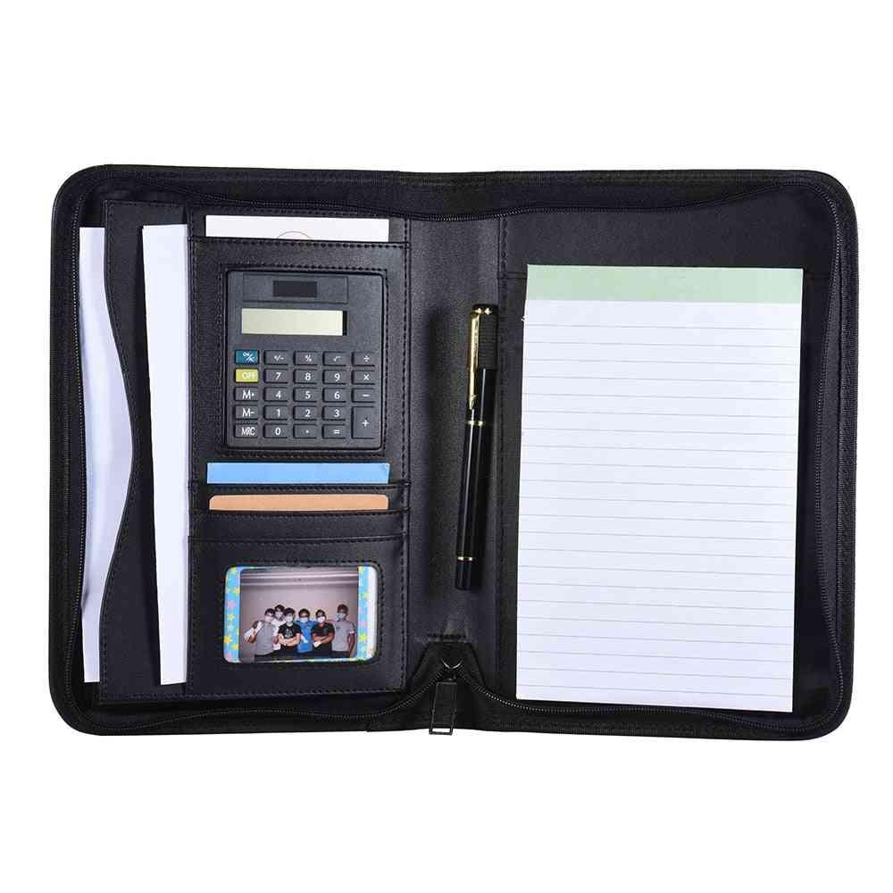 A5 Portable Business Portfolio Folder/organizer With Calculator Holder