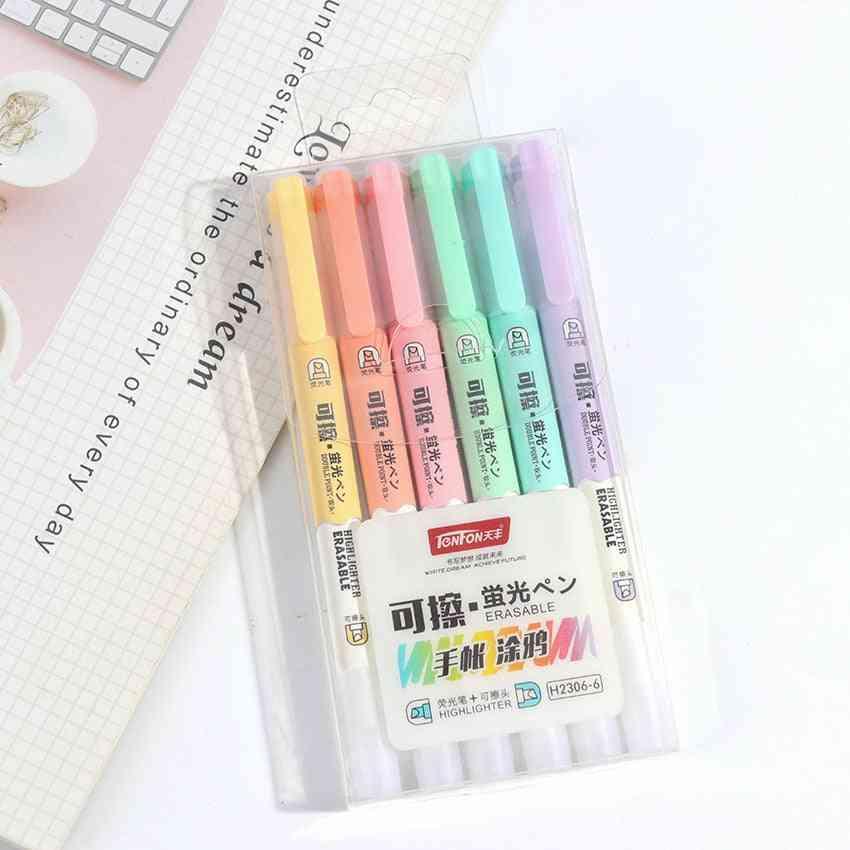 Double Head Erasable Highlighter Pen-drawing Art Supplies