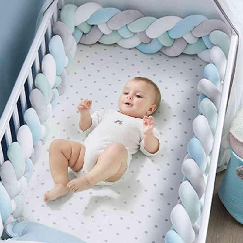 Baby Crib Protector Knot, Bed Bumper Weaving Plush Cushion For Newborns