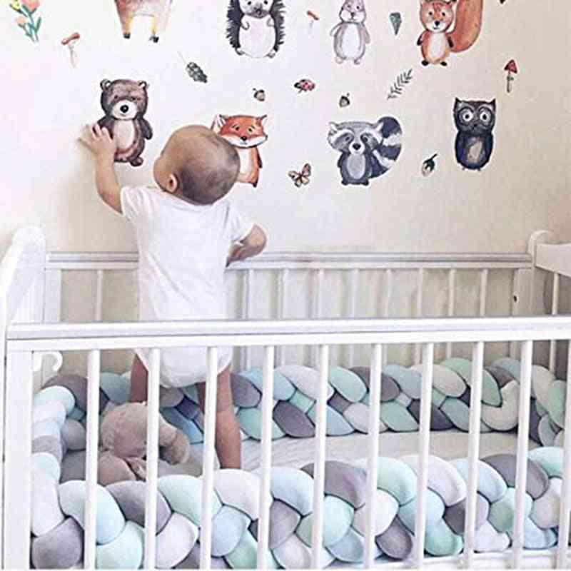 Baby Braided Bed Crib Bumper, Breathable Knotted, Plush Nursery Strand Cradle