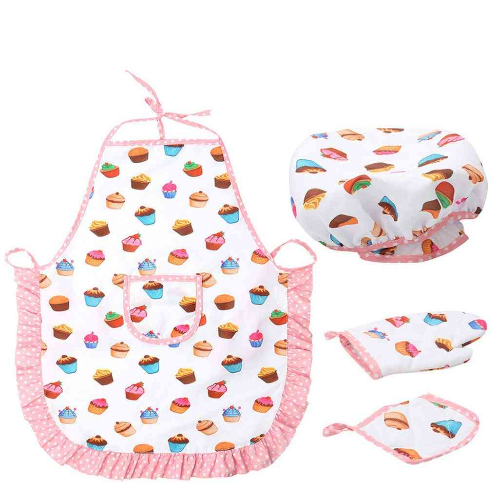 Kids Cooking And Baking Kitchen Deluxe Chef Set, Costume Pretend Role Play Kit Apron Hat