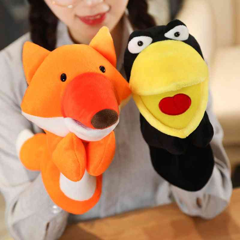 Funny Glove Crow Foxes Plush, Hand Puppets- Soft Stuffed Cartoon Story