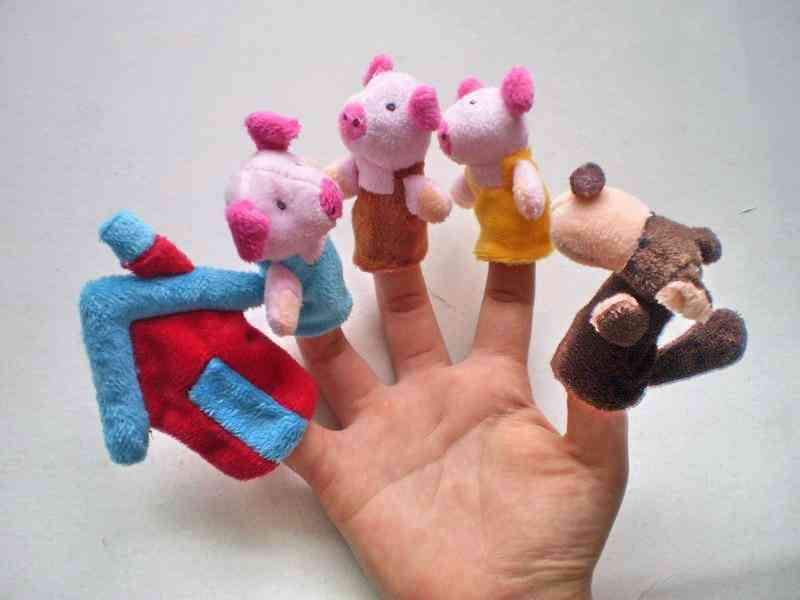 Baby Cartoon 3 Little Pigs Characters Finger Puppets, Theater Show Soft Dolls Props