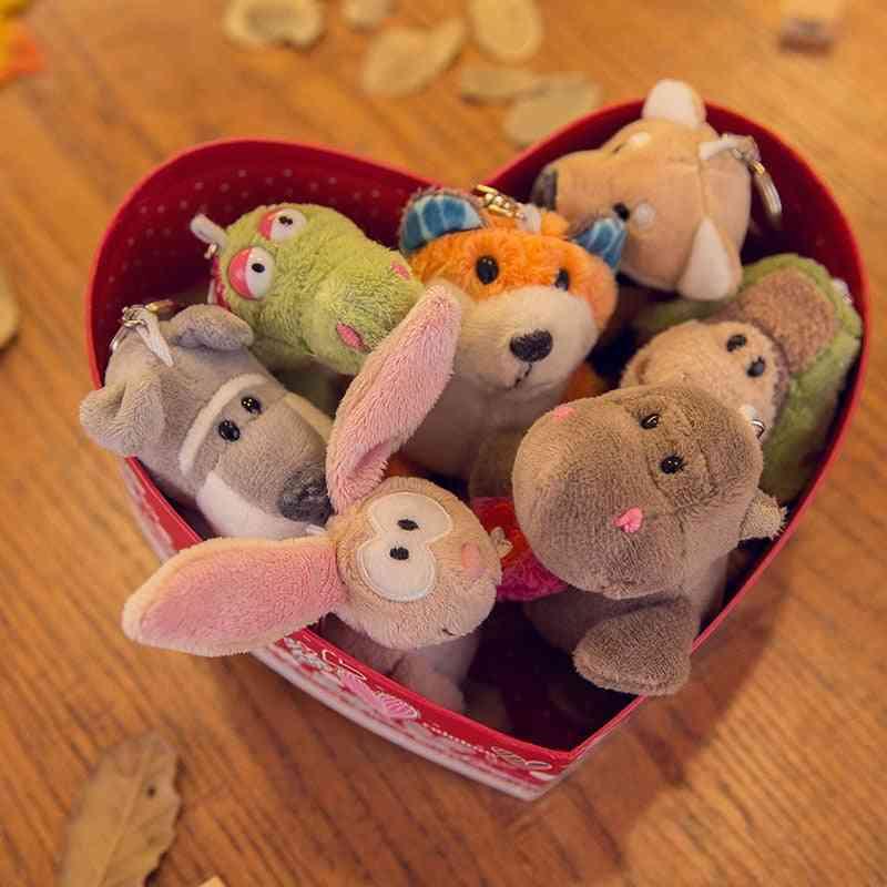 Cute Plush Rabbit, Lion, Dolphin & Tiger Toy, Holder Anime Car Key Chains Pendant
