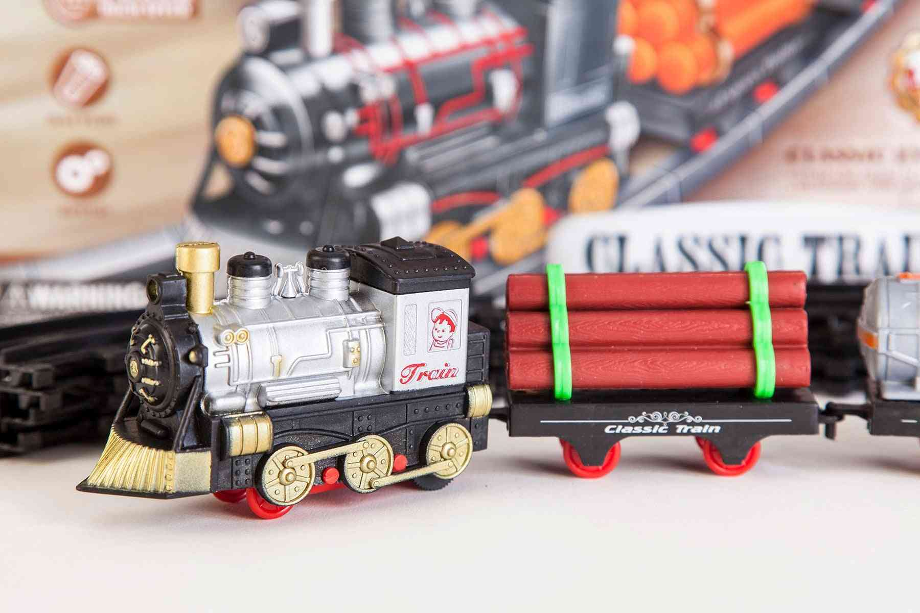 11pc Battery-powered Classic Train Set- Locomotive Toy For Kids