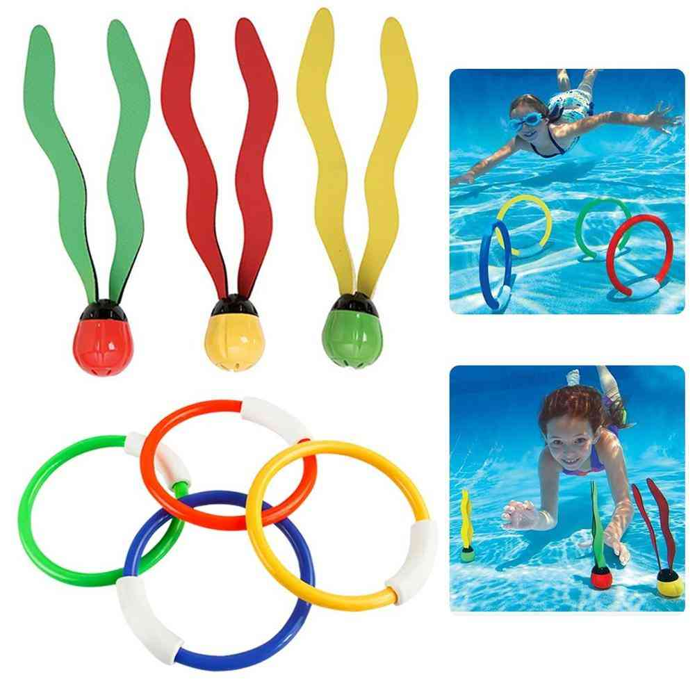 Ring And Seaweed- Swimming Pool Diving & Throwing Sports Toy For