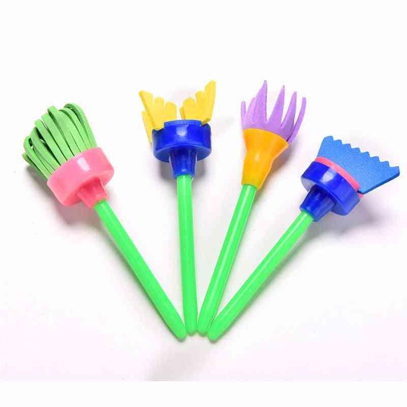 Diy Painting Tools Drawing, Flower Stamp Sponge Brush Set