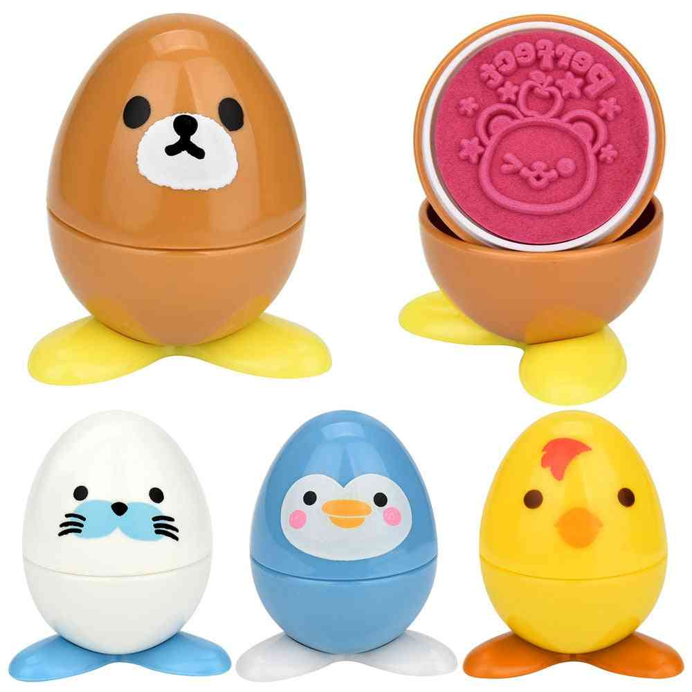 Cute Cartoon Egg Shaped Assorted Stampers With Cute Expression