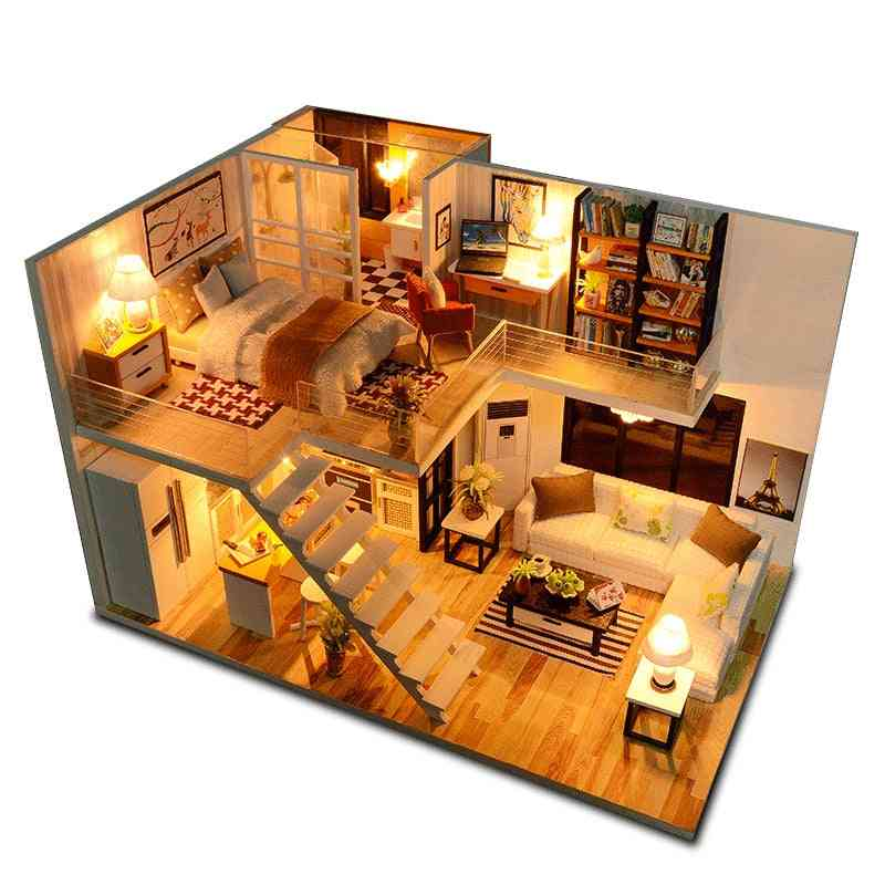 Wooden Miniature Doll Houses With Furniture Led Lights