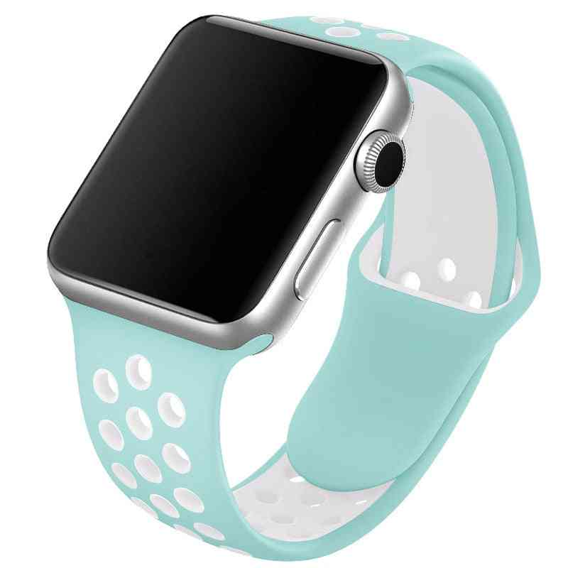 Silicone Wristband Suitable For Apple Watch-breathable Bracelet (set-27)