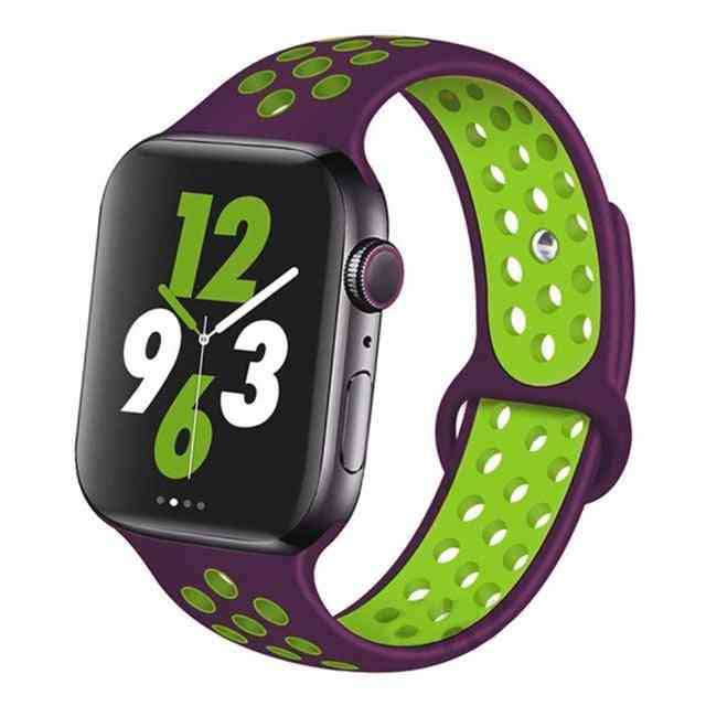 Silicone Wristband Suitable For Apple Watch-breathable Bracelet (set-25)