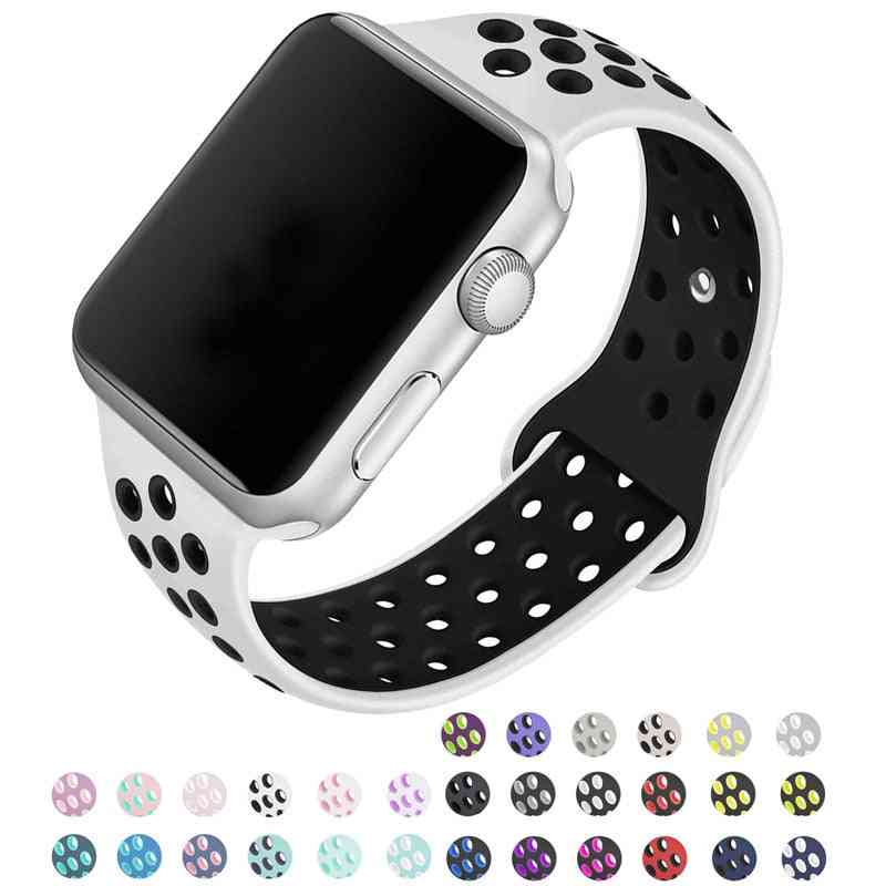 Silicone Wristband Suitable For Apple Watch-breathable Bracelet (set-28)