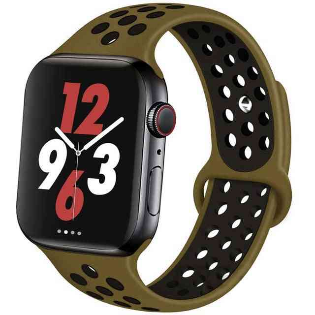 Silicone Wristband Suitable For Apple Watch-breathable Bracelet (set-21)