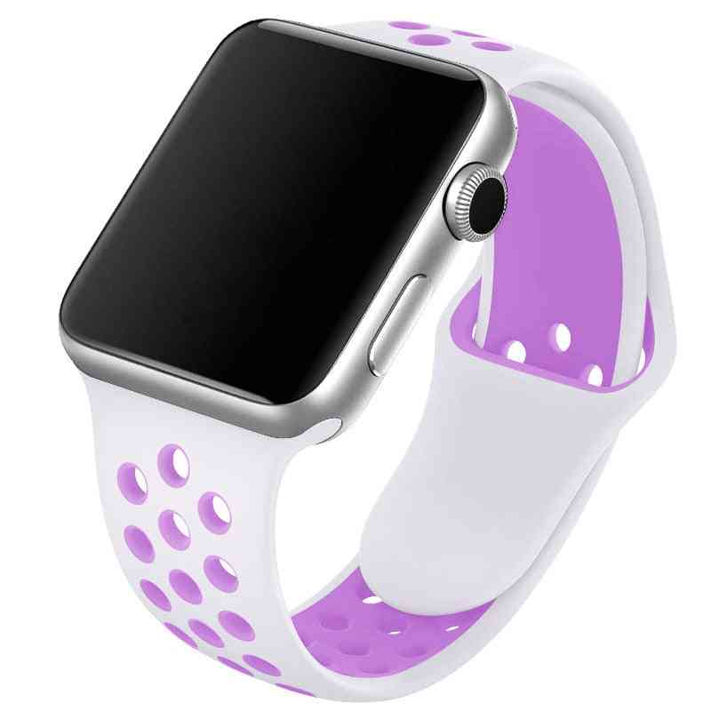 Silicone Wristband Suitable For Apple Watch-breathable Bracelet (set-15)