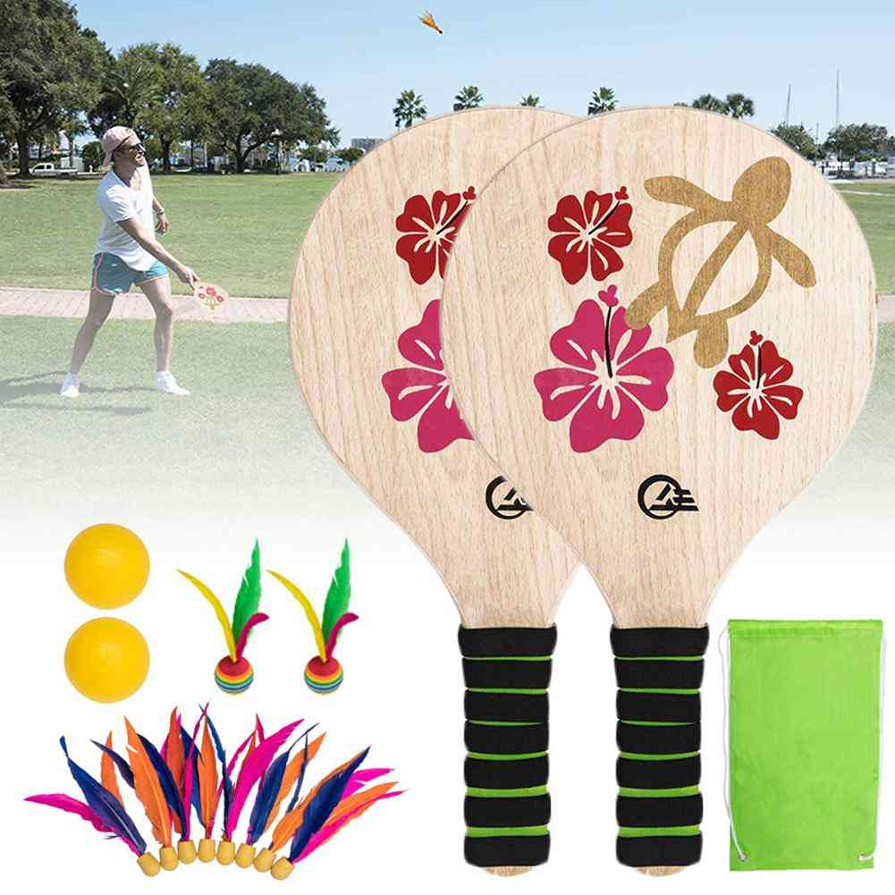 Badminton Set Including 2 Paddle Racket, Feather And Foam Balls With Storage Bag