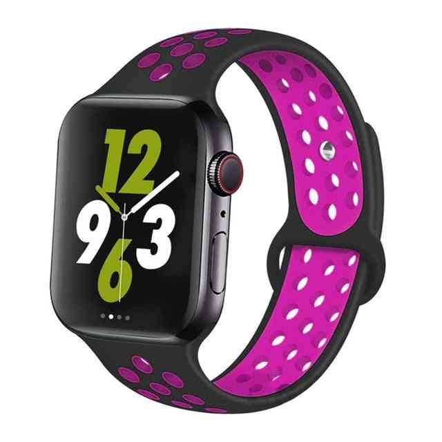 Silicone Wristband Suitable For Apple Watch-breathable Bracelet (set-8)