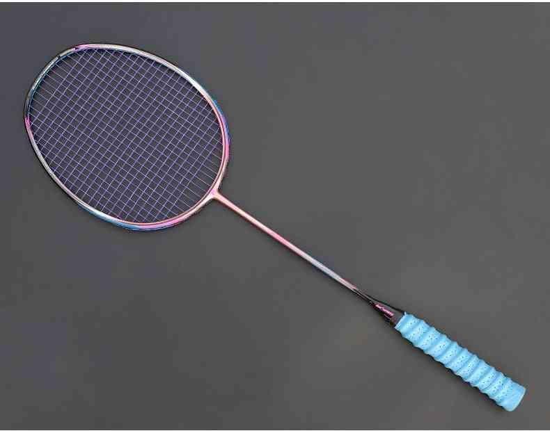 8u 65g Professional Carbon Fiber Badminton Racket, Raquette Super Light Weight Rackets