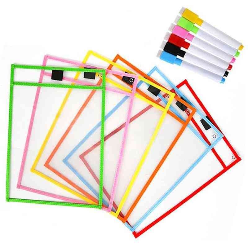 Transparent And Reusable Writing Dry Wipe Bag For