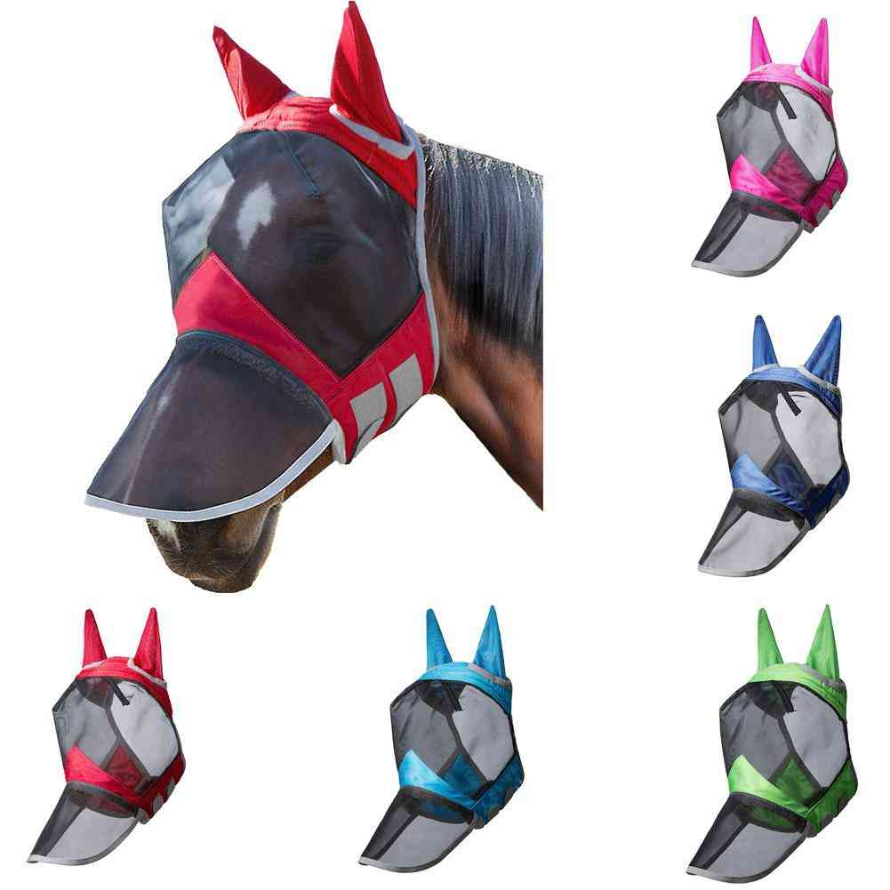Anti-mosquito, Zippered And Removable Full Face Mask For Horse