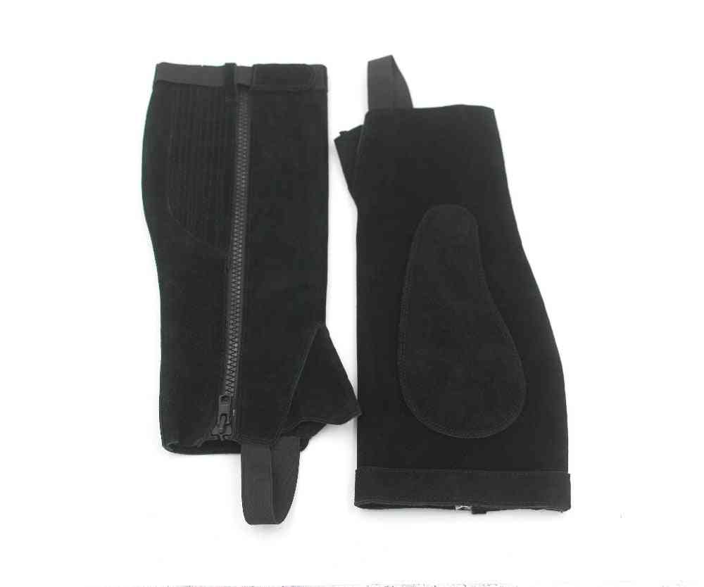 Horse Riding Half Chaps Suede Leather Equestrian Body Protector Equipment - Genuine Leather Saddle Chaps