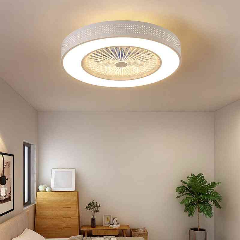 Modern Ceiling Painted Iron Acrylic Led, Dimmable Fans With Lights - Bedroom, Living Room, Lamp Remote Control Ceiling Fan