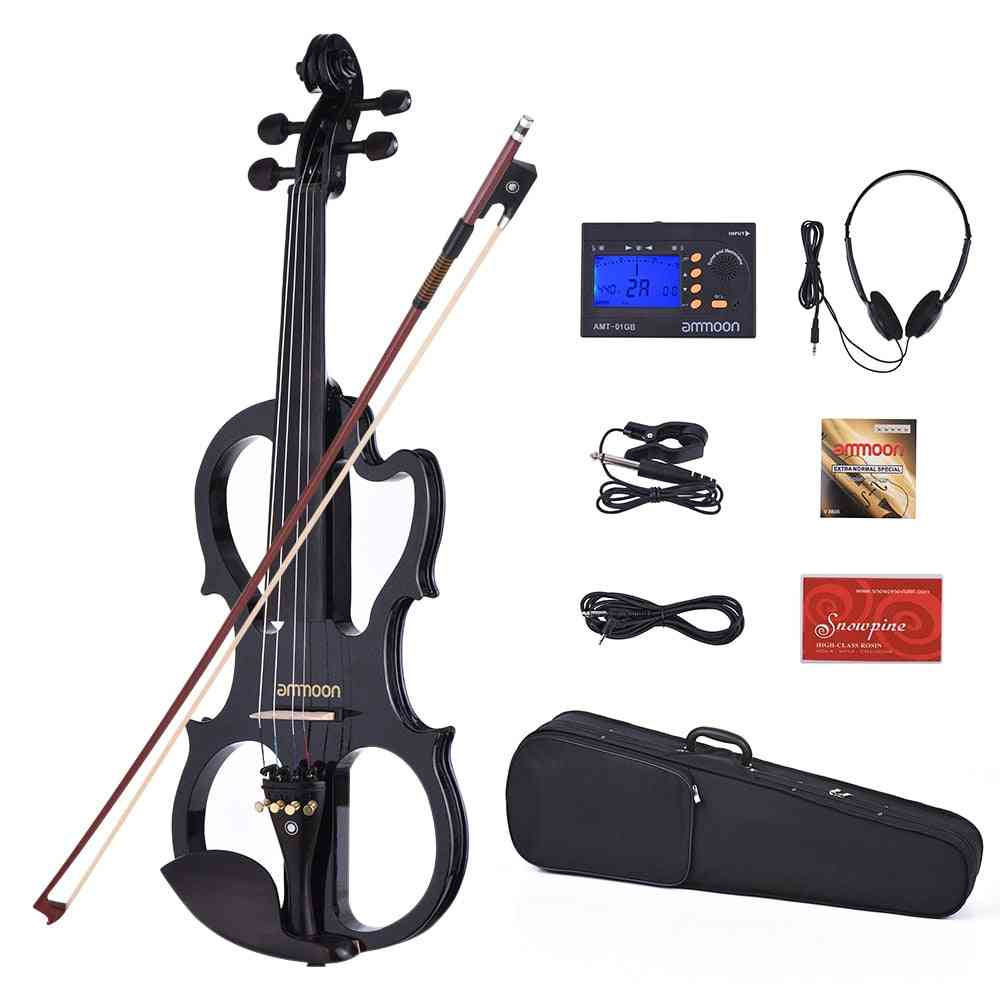 Solid Wood Silent Electric Violon-ebony Fingerboard Pegs With Accessories
